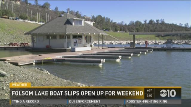 Folsom Lake's boat slips open up for the weekend