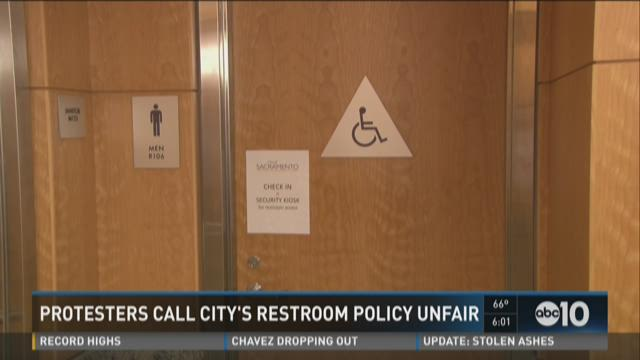 Protesters calling city's restroom policy unfair