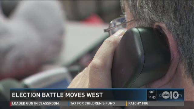 Election battle moves west