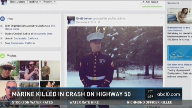 Marine killed in crash on Highway 50.