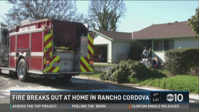 Fire breaks out at home in Rancho Cordova