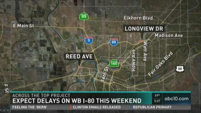 Expect delays on WB I-80 this weekend