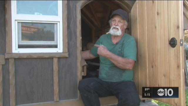 The man in the tiny home on wheels