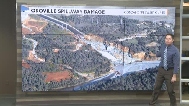 Oroville Spillway damage from Feb. 27, 2017