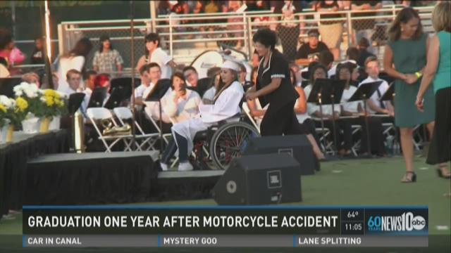 Teen graduates high school 1-year after motorcycle crash