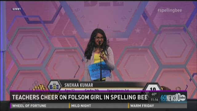 Teachers cheer on Folsom girl in spelling bee