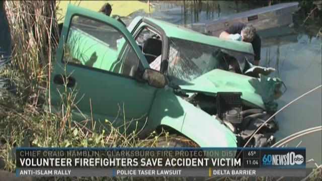 Volunteer firefighters save crash victim