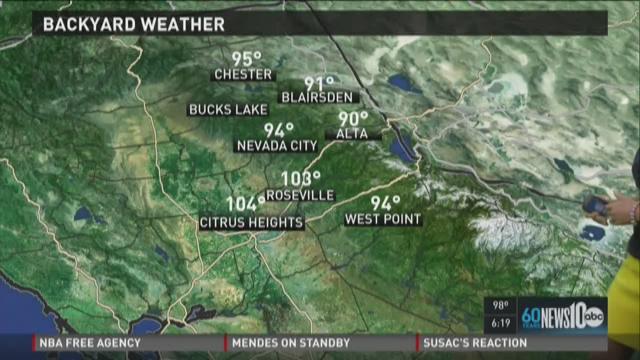 Sacramento area evening weather forecast for Monday, June 29, 2015