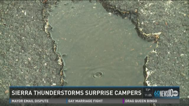 Campers surprised by Sierra thunderstorms