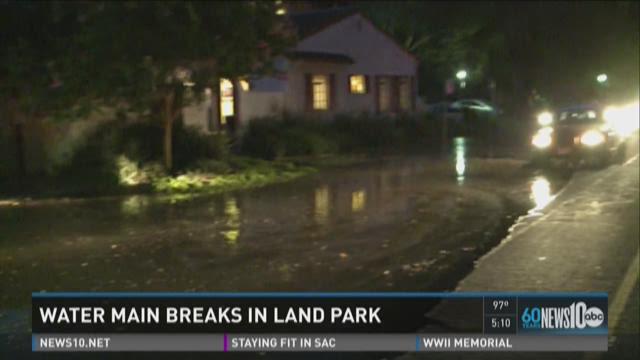 Water main breaks in Land Park