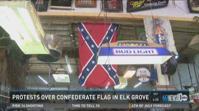 Crowd protests Confederate Flag outside Elk Grove store