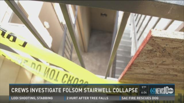 Crews investigate Folsom stairwell collapse