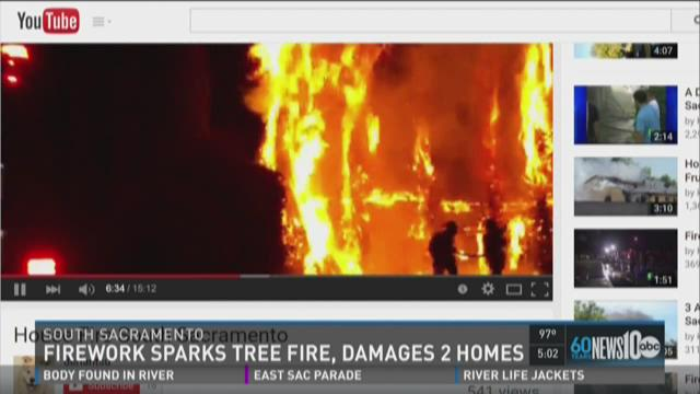 Firework sparks tree fire, damages 2 homes