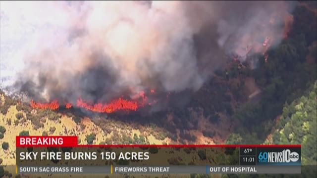 Sky Fire burns 150 acres in Vacaville