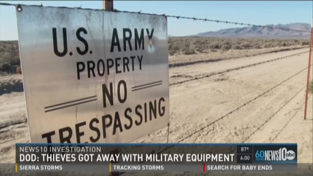 According to the Department of Defense, a proper inventory shows that thieves took 204 items from the Sierra Army Depot. (Tuesday, July 7, 2015)