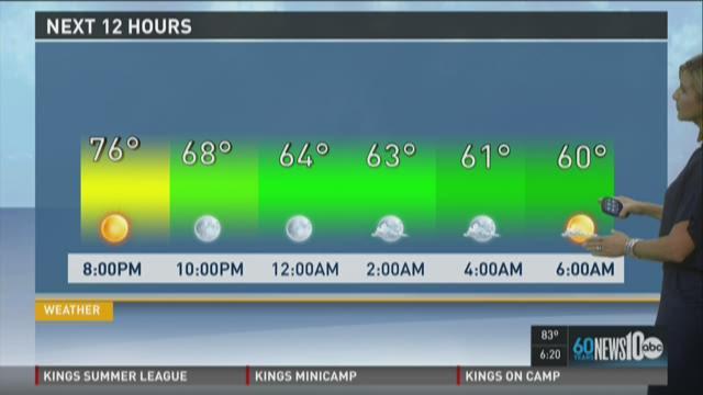 Sacramento area evening weather forecast for Tuesday, July 7, 2015