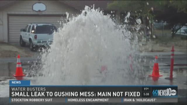 Water leak turns into gushing mess