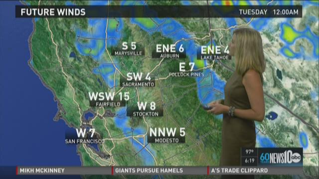 Sacramento area evening weather forecast update for Monday, July 27, 2015