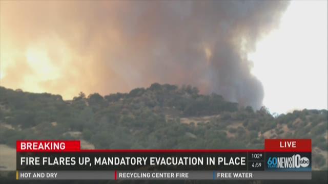 Wragg Fire near Lake Berryessa flares up