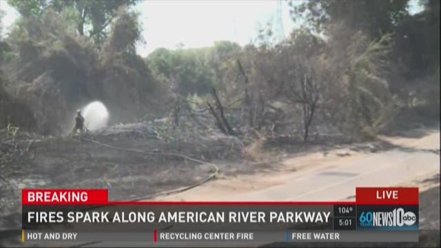Fire sparks along American River Parkway