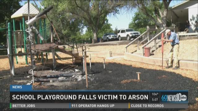 School playground falls victim to arson