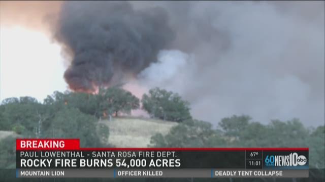Rocky Fire burns 54,000 acres