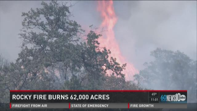 Rocky Fire grows to 62,000 acres