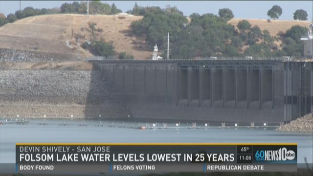 Folsom Lake levels lowest in 25 years