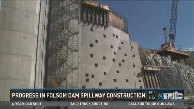 Progress in Folsom dam spillway construction