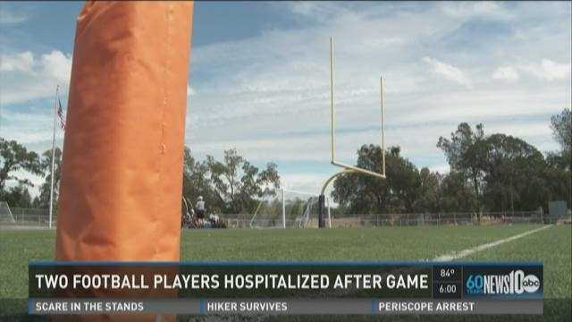 Two football players hospitalized after game