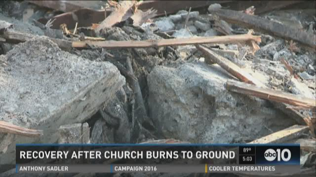 Recovery begins after church burns to ground