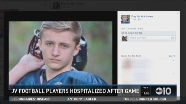 Two JV football players were taken to the hospital
