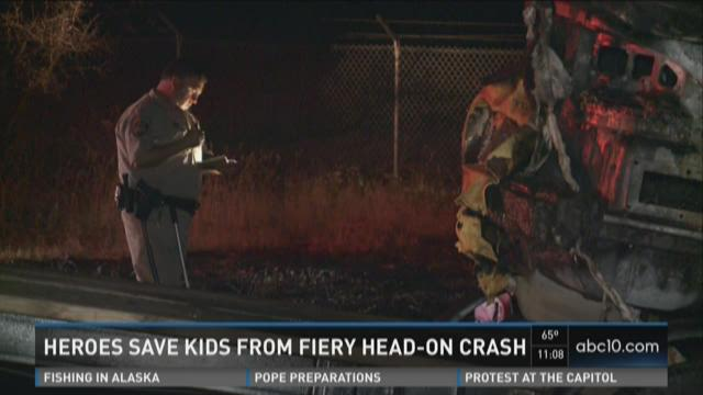 Heroes save kids from fiery head-on crash