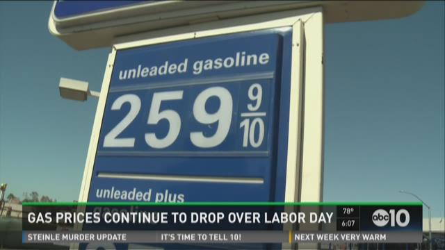 Gas prices continue to drop over Labor Day