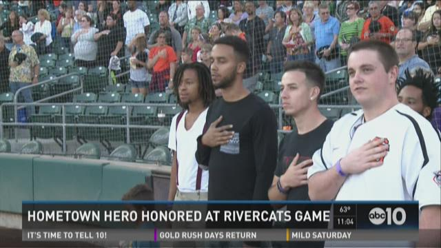 Hometown hero honored at Rivercats game