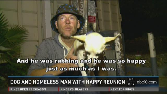 Dog and homeless man reunited