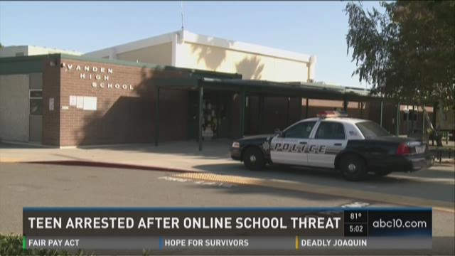 Teen arrested after online school threat
