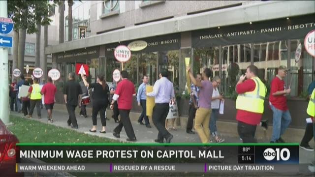 Minimum wage protest on Capitol Mall
