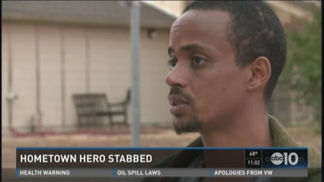 Hometown hero stabbed