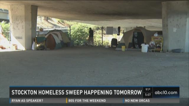 Stockton to conduct homeless sweep